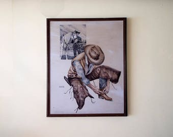 Vintage Signed Western Cowboy Watercolor Painting Hopalong Cassidy Topper, Southwestern Home Decor Huge Wall Art Hanging Accent Piece