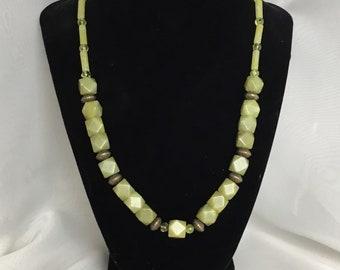 Serpentine and Peridot gemstone necklace