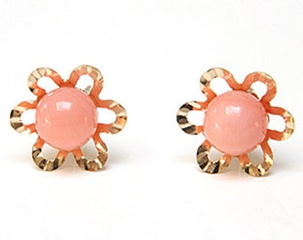 Solid 9ct Gold Coral Flower Stud earrings S472