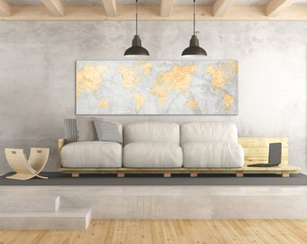 World map canvas print panoramic world map horizontal large world map canvas print vintage light gray neutral map world map panoramic extra large long wall gumiabroncs Images