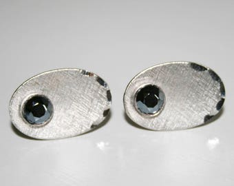 Sterling Silver Oval Brushed Metal Cuff Links