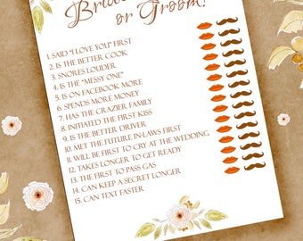 Bridal Shower Printable Game, Guess Who The Bride or Groom, Pink Green Floral, Instant Download