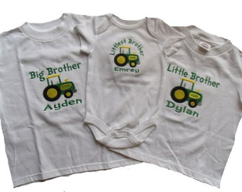 Tractor Big Brother Shirt, Tractor Big Sister Shirt, Tractor Little Brother Shirt, Tractor Little Sister Shirt, Personalized Tractor Shirt