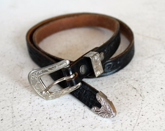 Vintage 80s Black TOOLED LEATHER Belt with Silver Tone Buckle S