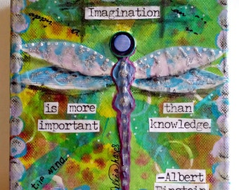 DRAGONFLY, IMAGINATION, original painting, mixed media original painting, Wings, Blue, Green, Positive Art, Nature, Insect, Butterfly, art