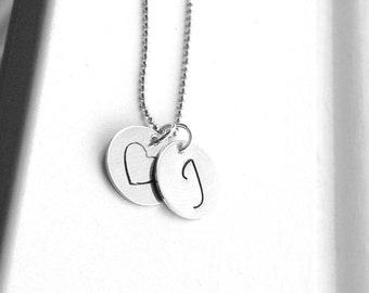 Large Initial Necklace, Initial Jewelry, All Letters Available, Letter J Necklace, Heart Necklace, Charm Necklace, Sterling Silver Jewelry