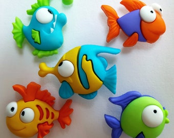 SOMETHING FISHY - Fish Sea Creatures Sealife Tropical Dress It Up Craft Buttons