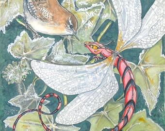 Dragon  painting original art watercolour painting, Winter Dragonfly, fantasy art dragonflies series