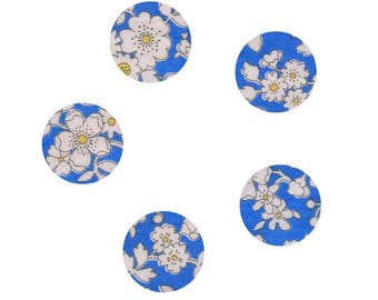 Set of 5 buttons covered with liberty fabric blue Maddsie size option made handmade in France