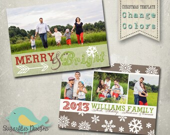 Christmas Card PHOTOSHOP TEMPLATE - Family Christmas Card 87