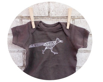 READY to SHIP 6 MONTH Roadrunner Baby Onepiece, Southwestern Print, Hand Printed Screen-Print, Short Sleeved One Piece Bodysuit, Shower Gift