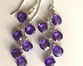 Ultra Violet 2018 Color of The Year Dangle Earrings, Ultraviolet, Sparkly Cubic Zircon