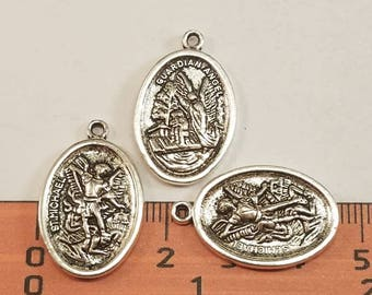 10 pcs- Oval St. Michael the Archangel Guardian Angel Pendant - 25x16mm Antique Silver Lead Free Pewter. SLR0586