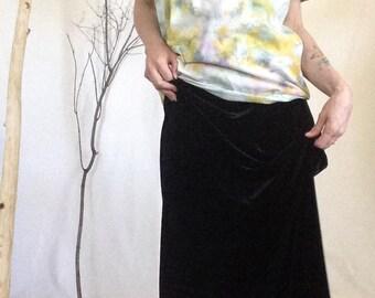 Black Velvet Maxi, Velvet Skirt, Size Small, 90s Velvet Skirt, Black Velvet, Velvet Maxi Skirt, Black Maxi Skirt, Velvet Maxi, Black Skirt