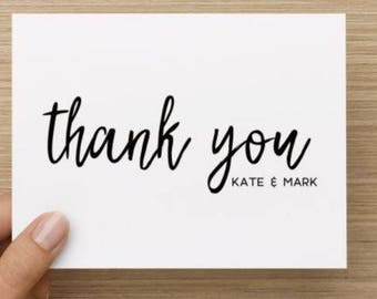 Bridal Shower Thank You Card. Simple thank you.  Personalized.  Multiple pack sizes available!
