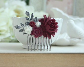 Burgundy red and white flower gold comb marsala red white burgundy and white flower comb burgundy flower silver plated comb floral hair piece floral hair comb bridesmaid gift rustic fall wedding mightylinksfo