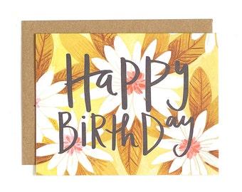 Happy Birthday Daisies Illustrated Card // 1canoe2