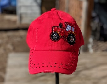 Red Farm Tractor BLING Cap