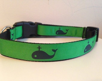 Preppy Green and Blue Nautical Whales Large Dog Collar