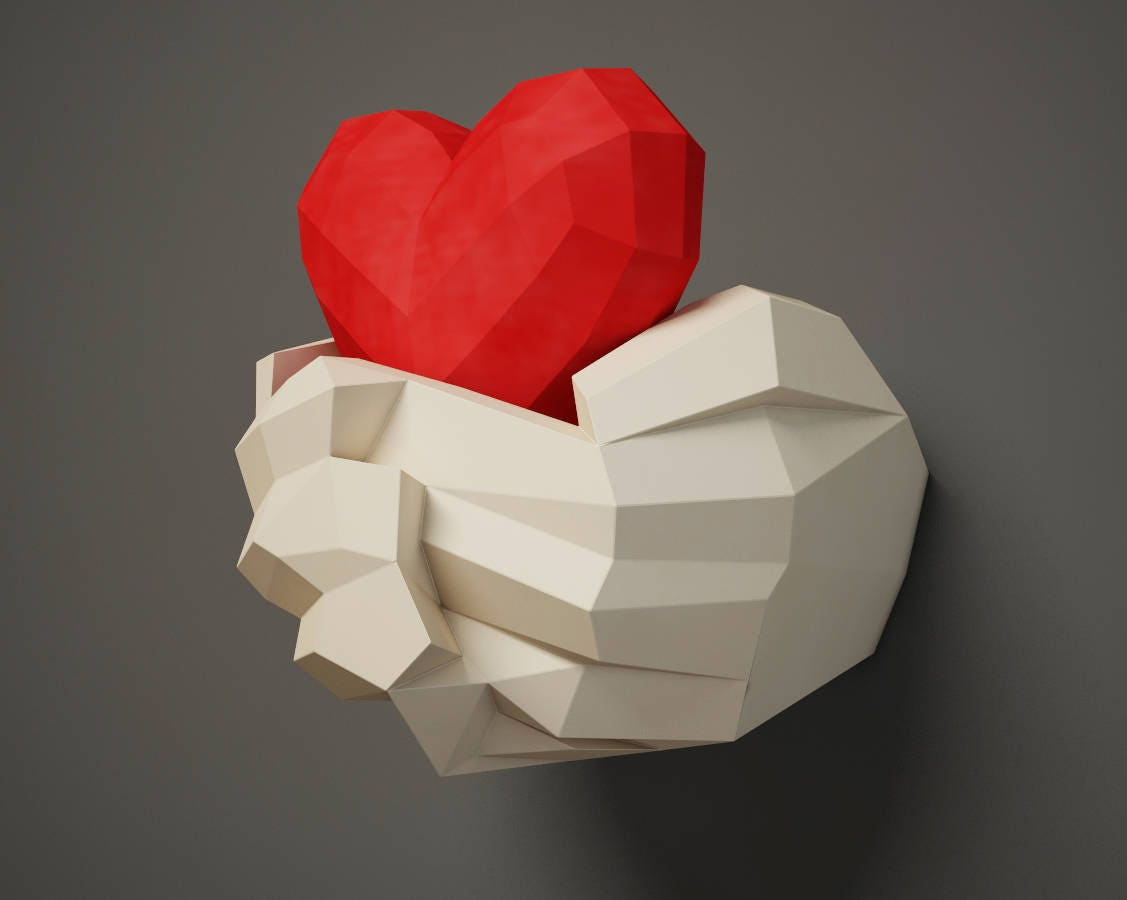 Papercraft hand with heart 3d paper craft wall decor diy zoom jeuxipadfo Gallery