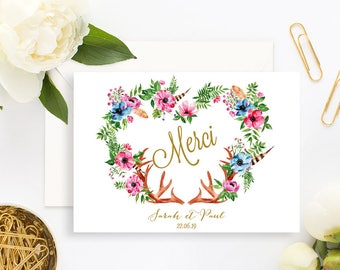 Bohemian Floral Wedding Thank You Card with white envelope - Wedding Thank You Card - Flower Wedding Invitation - Rustic Wedding Countryside