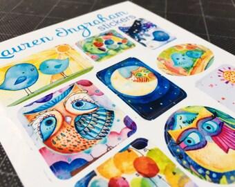 Cute Stickers by Lauren Ingraham small vibrant vinyl 2 sheet pack