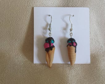 Earrings Ice with cold porcelain grout