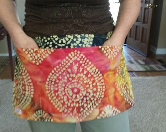 Task Apron   Teacher, Doula, Waitress, Waiter, and more!  Extra pockets to keep all your working items handy   Batik