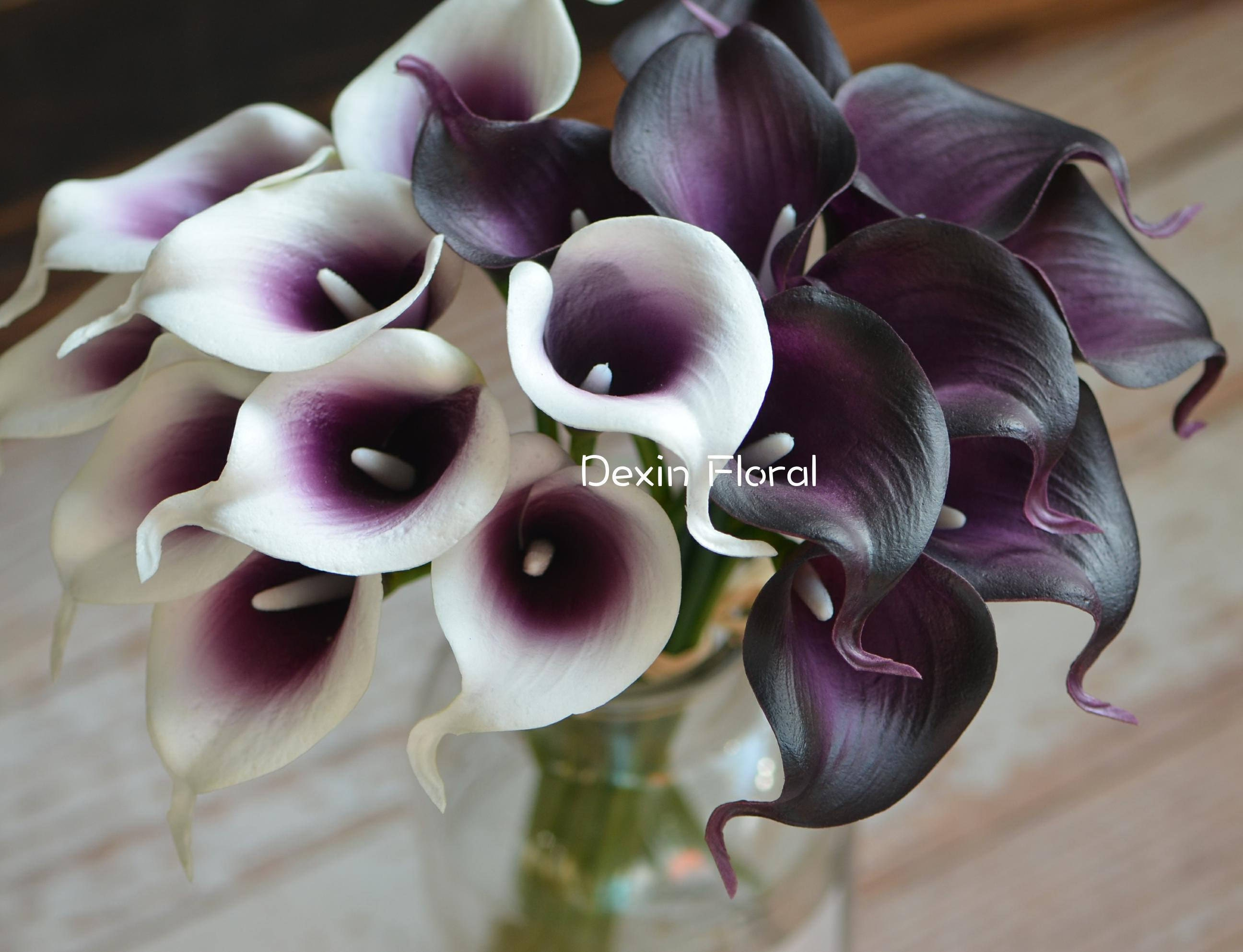 Plum Calla Lilies Real Touch Flowers Diy Wedding Bouquets