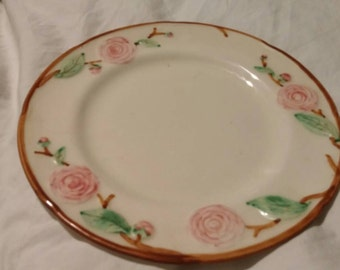 On Sale Carmella by Metlox 9 inch Luncheon Plate with Pale Pink Roses Hand Painted Vintage Kitchen