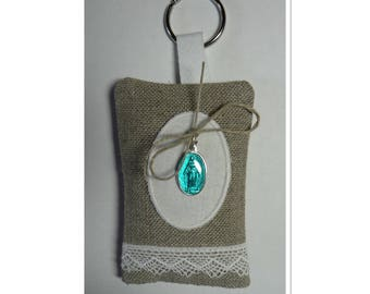 Keychain filled with flax lavender with turquoise blue miraculous medal