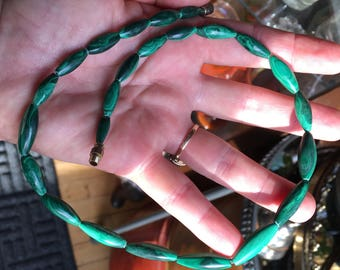 Vintage Malachite Handcrafted Necklace.