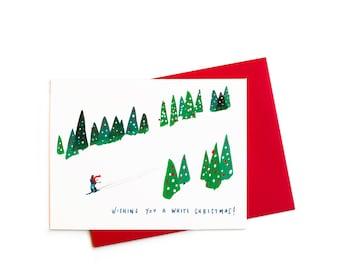 Christmas Card, Ski Slopes White Christmas Card