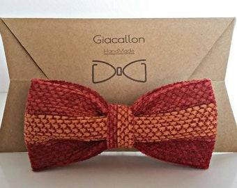 Three tone striped bow tie