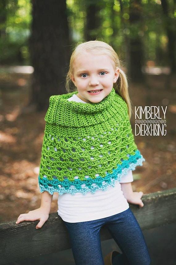 PDF Crochet Pattern Pistachio Poncho Pullover Cowl Neck Girl