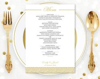 Gold Template Digital Menu Card EDITABLE - Instant download PDF file - Glam Gold DIY Menu Cards for Print at Home - Printable Wedding Menu