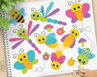 Flying Bugs Clipart, cute, Insects, bee, firefly, butterfly, mosquito, dragonfly, kawaii, Commercial Use, Vector clip art, SVG Cut Files