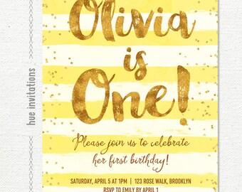sunshine yellow first birthday invitation for girl, yellow stripes gold glitter confetti 1st birthday party, printable digital invitation