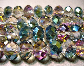 Crystal Beads Sahara Green Faceted  Rondelles 12x8MM