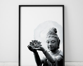 Black And White Art Buddha Wall Art Black And White Print Buddha Art Black And White Wall Art Black And White Decor Meditation Room