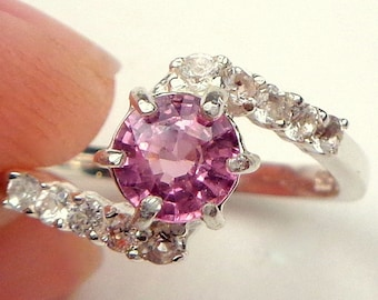 Rare Natural Pink Zircon, Sterling Silver, Diamond cut White Topaz Band, Round Shape, Engagement, Wedding, Promise Ring