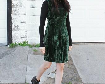Vintage Velvet Dress Betsey Johnson Crushed Velvet Punk Label Emerald Green Mini Dress - Size XS to Small