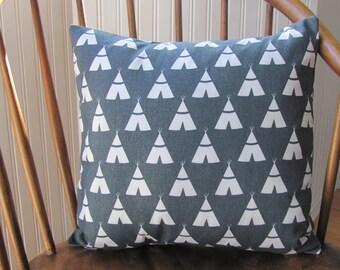 Tepee Pillow Cover Gray/White