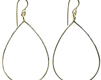 Large Hammered Gold Filled Teardrop Earrings
