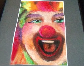 original art pastel drawing matted  clown face