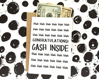 Funny Graduation Card - High School Graduation Card - Card for Grads - Funny Wedding Card - Money Holder - Congrats Card