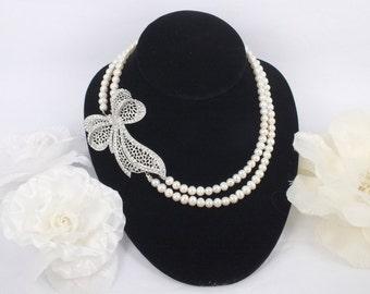 Evita - Freshwater Pearl and Rhinestone Necklace