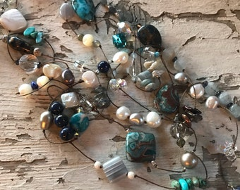 Long Gemstone Necklace - Boho Necklace  - Mother's Day Gift - Gift for Mom - Boho Jewelry - Gift for Her
