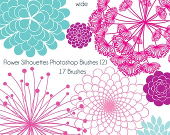 Flower Silhouettes Photoshop Brushes 2, Flower Photoshop Brushes - Commercial and Personal Use