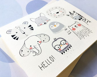 Greeting Card, Note Card, Stationery, Card Set, Children's card, Animal Card, Cute Card